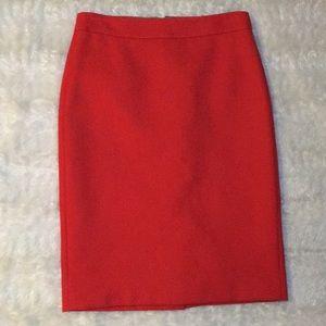 J crew bright red wool pencil skirt